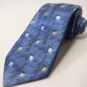 Robert Talbott Estate Neck Tie Blue Geometric  New